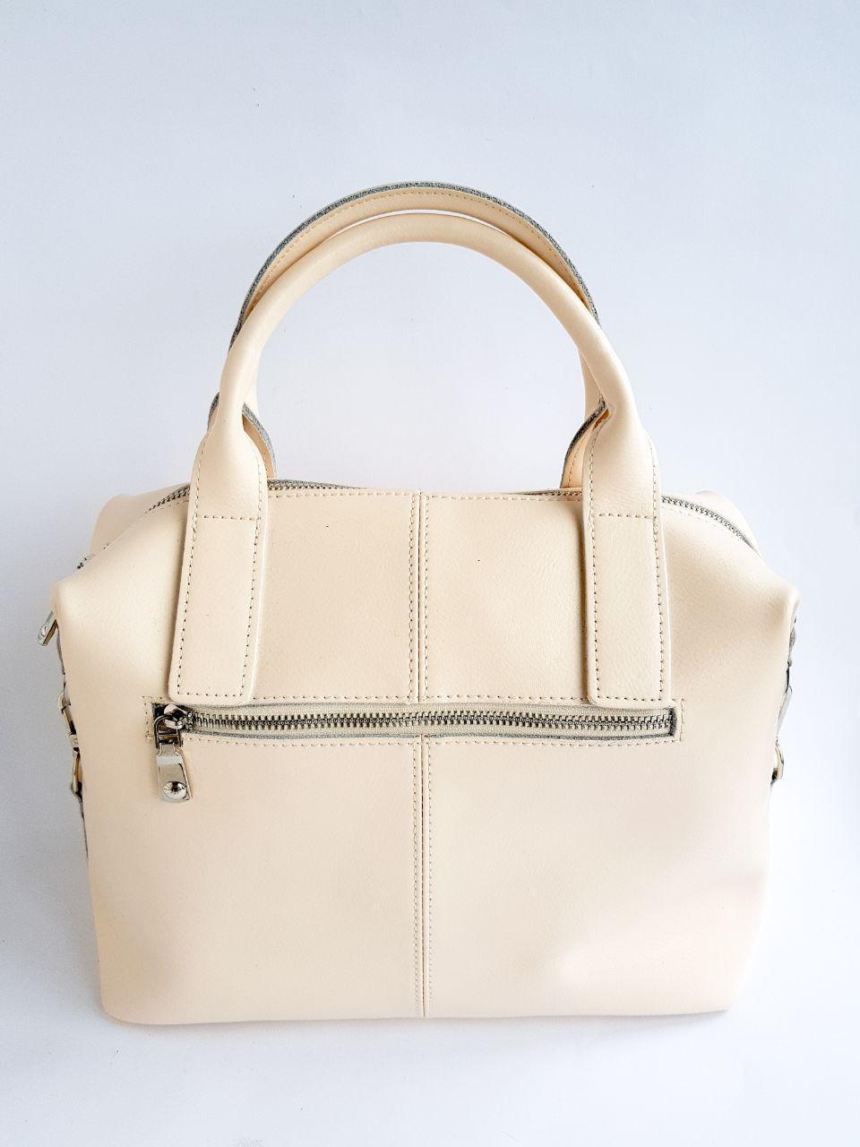 Кожаная женская сумка Galanty Бежевый (01013)