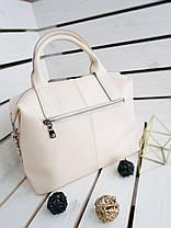 Кожаная женская сумка Galanty Бежевый (01013), фото 2