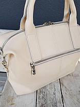 Кожаная женская сумка Galanty Бежевый (01013), фото 3