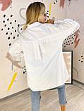 Женская рубашка из хлопка с оборкой из фатина 44-0220, фото 7