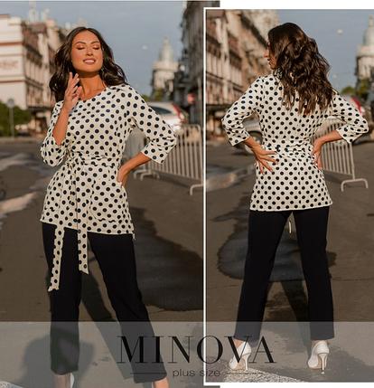 Нарядный костюм большого размера с блузой и брюками Размеры: 48-50, 52-54, 56-58, 60-62, 64-66, фото 2