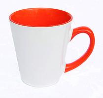 Чашка сублимационная LATTE цветная внутри и ручка ОРАНЖЕВАЯ