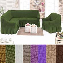 Еврочехол на угловой диван и кресло натяжные чехлы Много цветов с оборкой Зеленый жатка