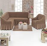 Еврочехол на угловой диван и кресло натяжные чехлы Много цветов с оборкой Зеленый жатка, фото 4