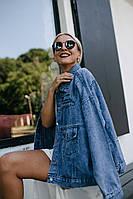 Джинсовая классическая куртка женская с надписями стиль овер сайз
