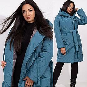 Пальто женское стеганое с капюшоном под пояс большого размера, Женское стеганое пальто с капюшоном