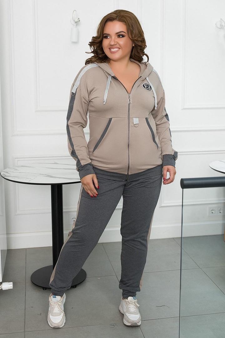 Стильный осенний женский спортивный костюм большого размера