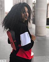 Костюм спортивный женский с разноцветными вставками двухнить, Костюм спортивный двухнить с лампасами и разноцветными вставками, фото 4