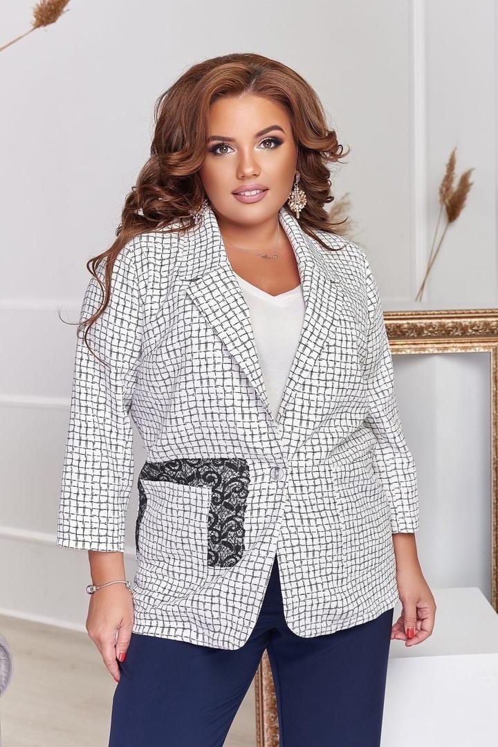 Пиджак женский отложным воротником и длинными рукавами большого размера,  Пиджак женский, Пиджак женский белый с накладными карманами большого размера