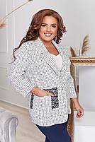 Пиджак женский отложным воротником и длинными рукавами большого размера,  Пиджак женский, Пиджак женский белый с накладными карманами большого размера, фото 2