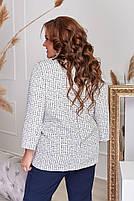 Пиджак женский отложным воротником и длинными рукавами большого размера,  Пиджак женский, Пиджак женский белый с накладными карманами большого размера, фото 3