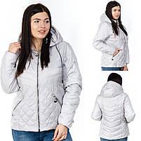 Куртка женская короткая со съемным капюшоном большого размера, Женские куртки на осень короткие с капюшоном, фото 2