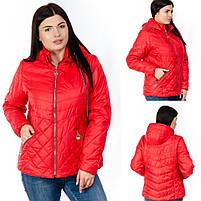 Куртка женская короткая со съемным капюшоном большого размера, Женские куртки на осень короткие с капюшоном, фото 3