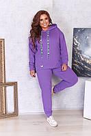 Женский спортивный костюм из двунити кофта с капюшоном Большой размер, фото 4