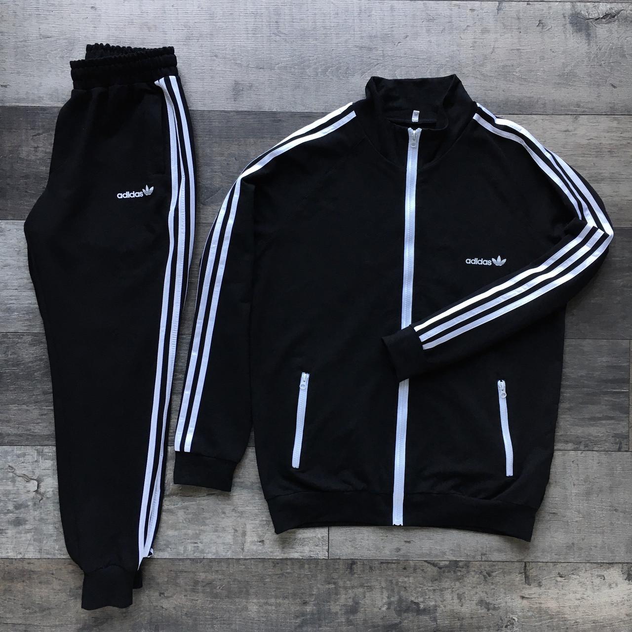 Спортивный костюм мужской черный  в стиле Adidas (Адидас)  размер: XS, S, M, L, XL