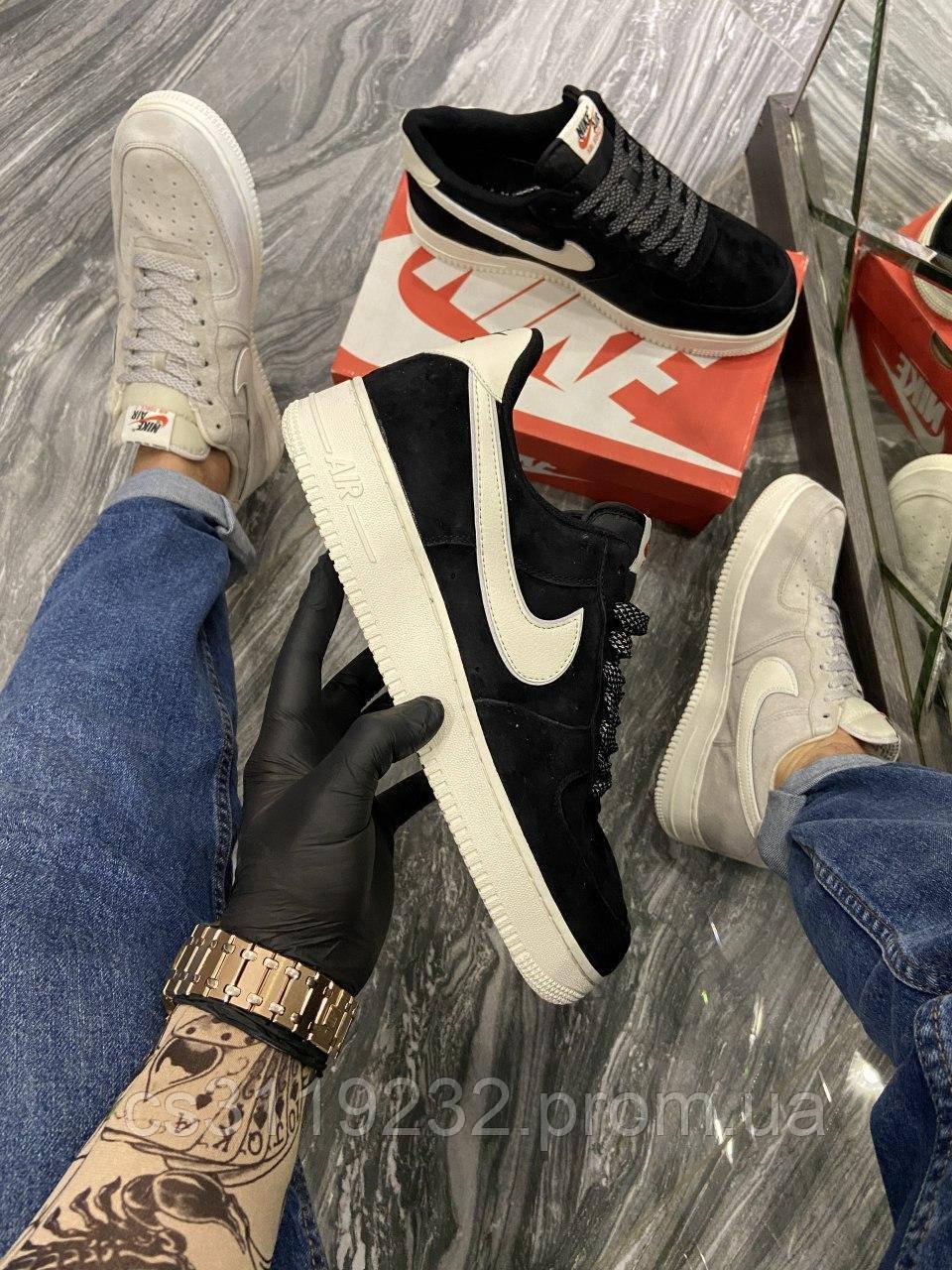 Мужские кроссовки Nike Air Force Luxury Suede Black (синие)