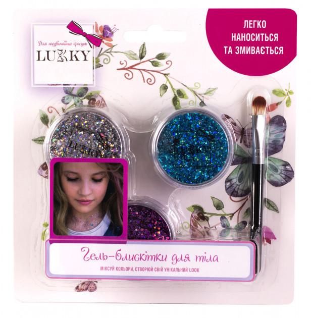 Набор детских гель-блесток для тела, лица, волос, т.м. «Lukky» В набор входит: цвет ФИО T11929