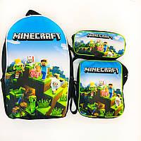 Набор: рюкзак школьный, сумка, пенал Майнкрафт