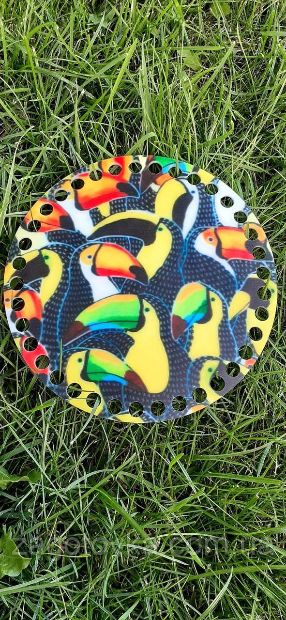 Денце з акрилу з малюнком для сумочки або кошики, діаметр 15см