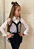Детская белая рубашка с черной жилеткой размер: 134, 140, 146, 152
