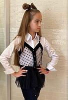 Детская белая рубашка с черной жилеткой размер: 134, 140, 146, 152, фото 1
