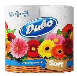 """Туалетная бумага двухслойная Диво """"Soft"""", 150 отрывов, 4 рулона"""
