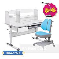 Комплект для школьников Cubby Rimu Grey+эргономичное кресло FunDesk Pittore Blue, фото 1
