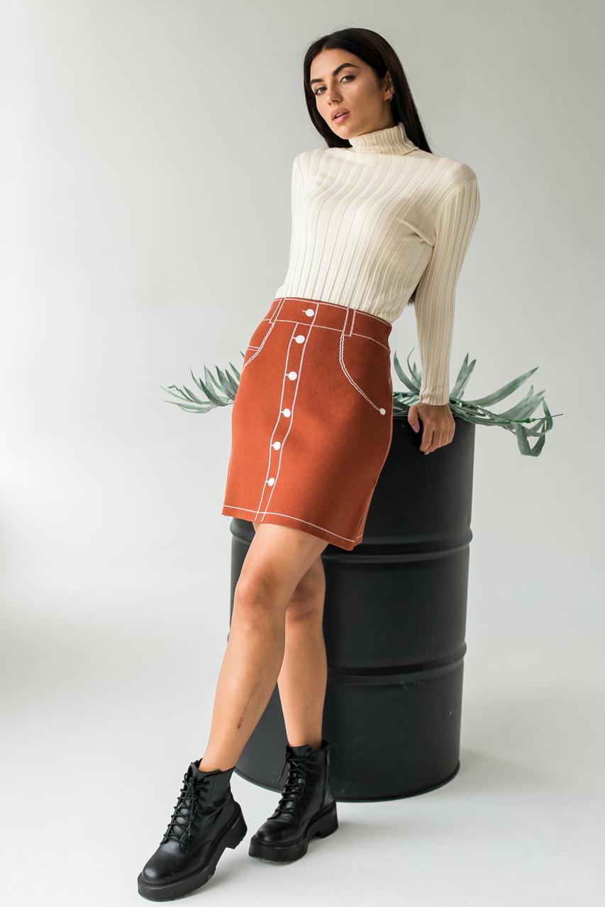 Трикотажная мини-юбка с нарисованными пуговицами и карманами LUREX - коричневый цвет, L (есть размеры)