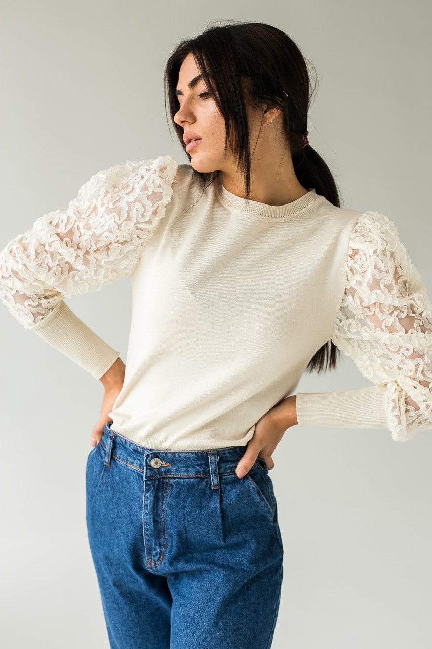 Трендовый джемпер с фатиновыми рукавами объемная вышивка Jasmine - бежевый цвет, S/M (есть размеры)