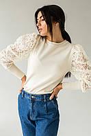 Трендовый джемпер с фатиновыми рукавами объемная вышивка Jasmine - бежевый цвет, S/M (есть размеры), фото 1