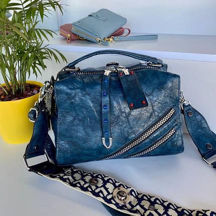 Женская сумка Valery с широким ремешком синяя СВ94, фото 2