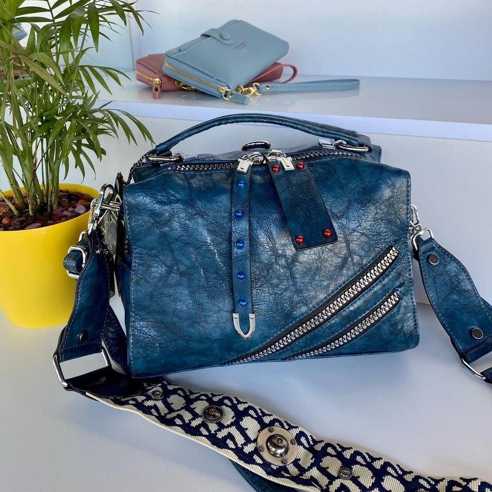 Женская сумка Valery с широким ремешком синяя СВ94