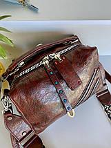 Женская сумка Valery с широким ремешком коньячная СВ95, фото 2