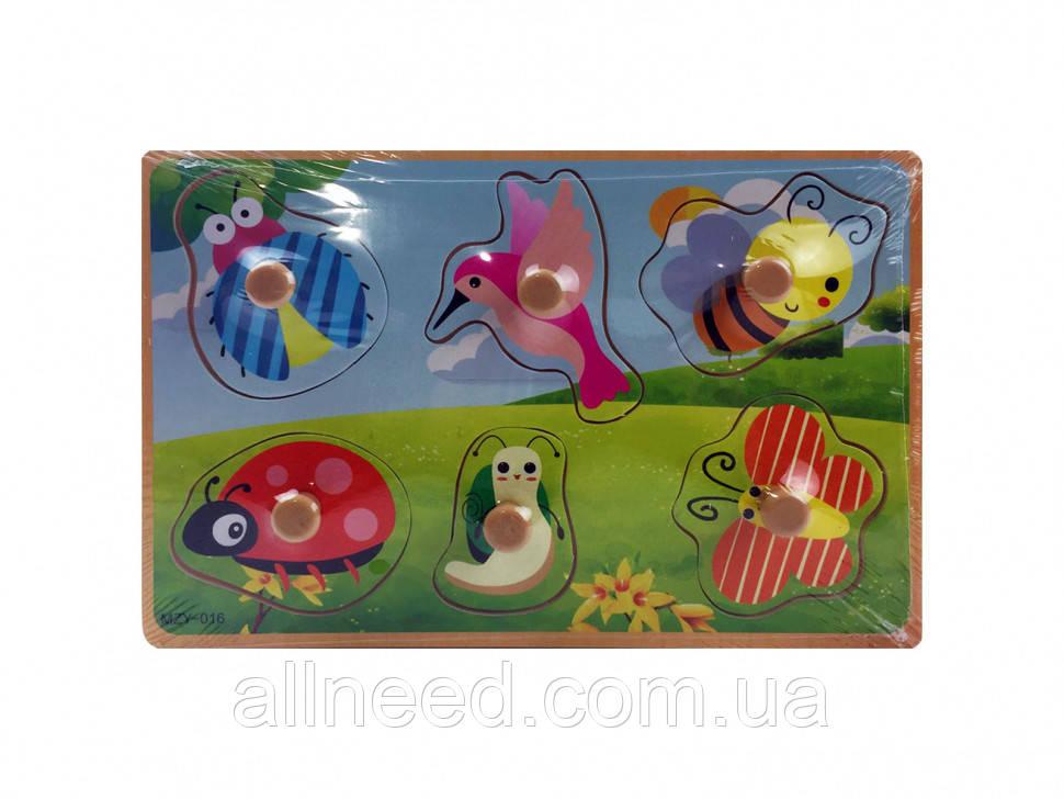 Деревянная игрушка Рамка-вкладыш MD  2384-01 ( 2384-016 (Насекомые))