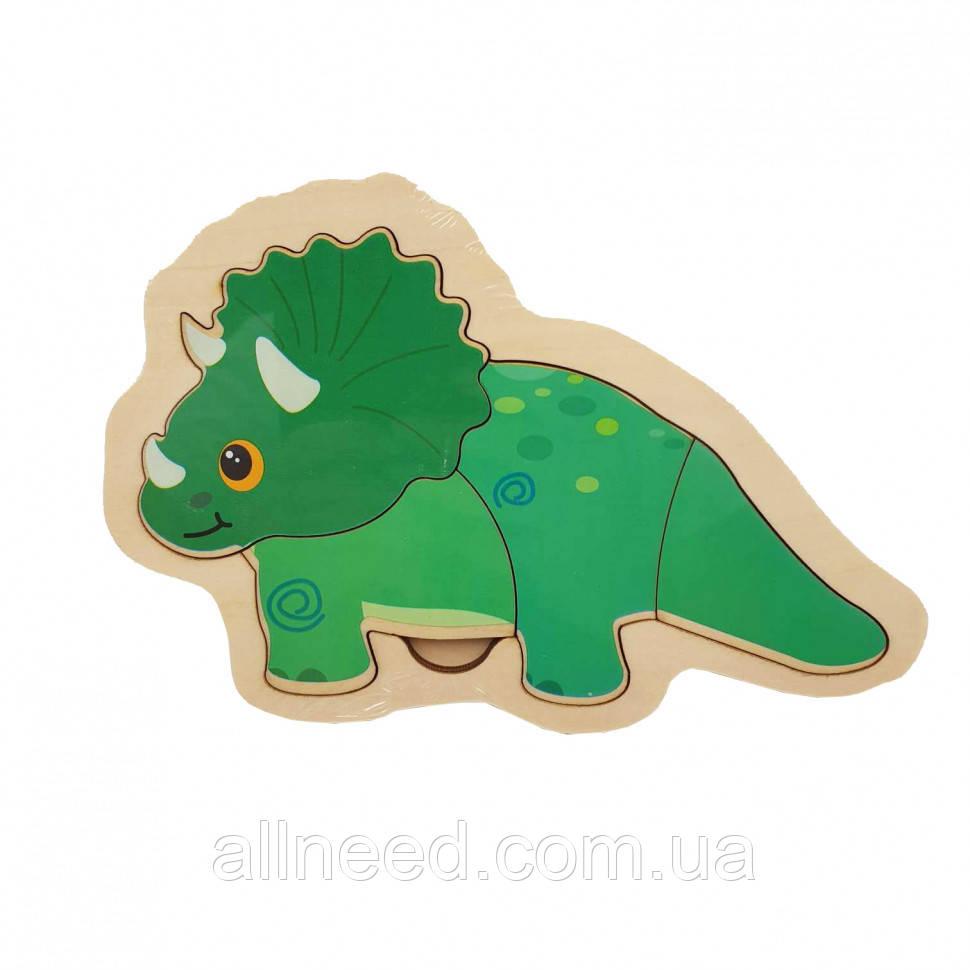 Деревянная игрушка Пазлы MD 2283 (Динозавр зелёный)