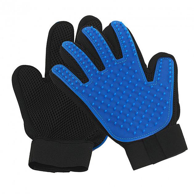 Перчатка для вычесывания шерсти для кошек и собак True Touch Черно-синяя