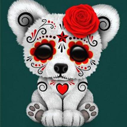 КДІ-0033 Набір алмазної вишивки Щеня з трояндочкою, фото 2