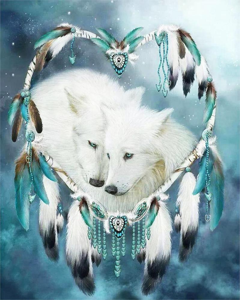 КДИ-0828 Набор алмазной вышивки Волки. Любовь и гармония