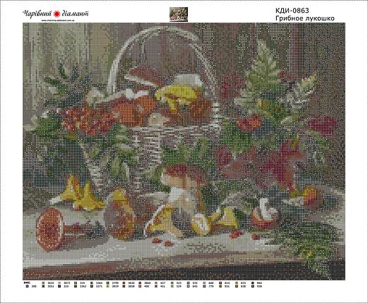 КДІ-0863 Набір алмазної вишивки Грибне кошик, фото 2