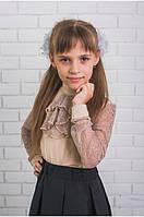 """Школьная блузка для девочки с жабо """"Элен"""""""