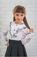 """Красивая школьная блуза для девочек с рюшами """"Анна"""""""