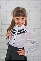 """Стильная блузка для девочки с черными рюшами """"Алоиз"""""""