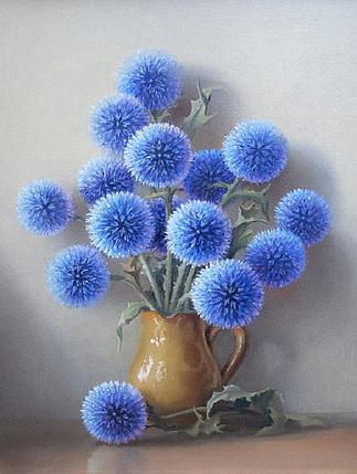 КДІ-0082 Набір алмазної вишивки Сині пухнастики, фото 2