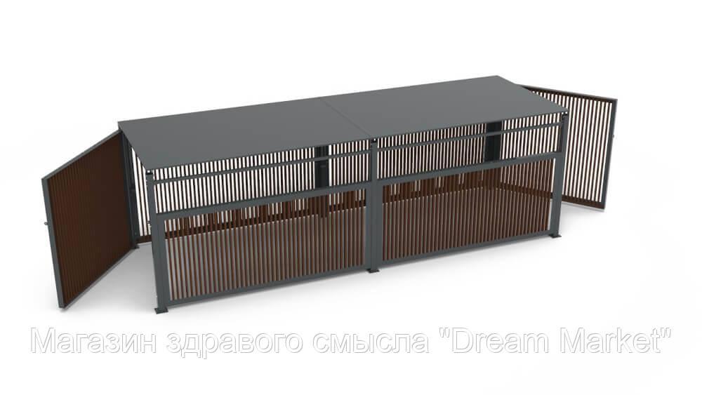Пергола с дверьми на 4 мусорных контейнера для открытых уличных площадок, загородных участков 590x201x195 см