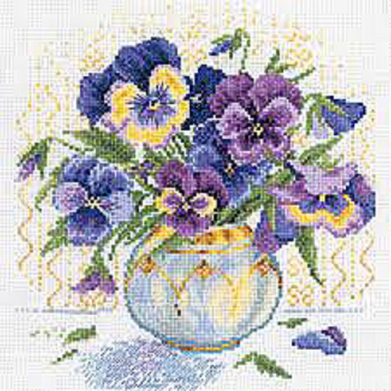 КДИ-0142 Набор алмазной вышивки Букет фиалок