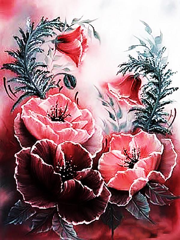 КДИ-0265 Набор алмазной вышивки Розовые маки