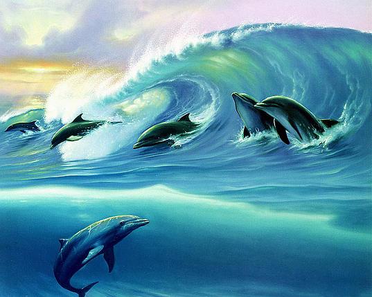 КДІ-0289 Набір алмазної вишивки Дельфіни, фото 2