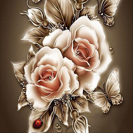 КДИ-0365 Набор алмазной вышивки Карамельные розы, фото 2