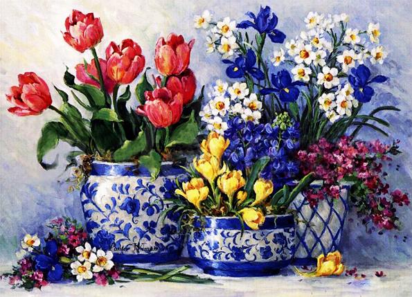 КДИ-0372 Набор алмазной вышивки Любимые цветы. Художник Barbara Mock, фото 2
