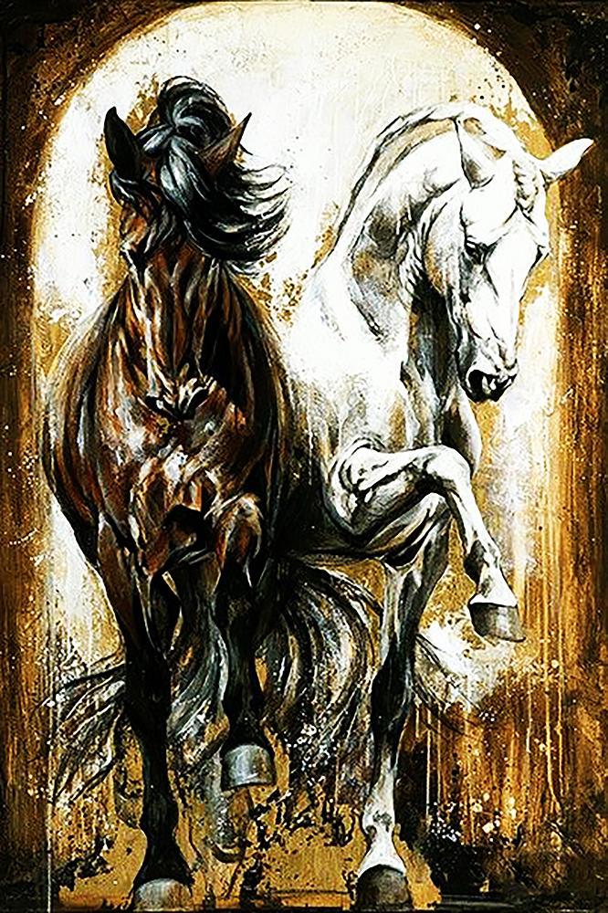 КДІ-0738 Набір алмазної вишивки Пара прекрасних коней. Художник Elise Genest